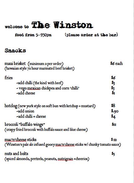 Menu – The Winston Bar